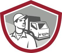 removal man delivery van shield retro - stock illustration