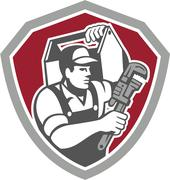 Plumber carry toolbox wrench shield retro Stock Illustration
