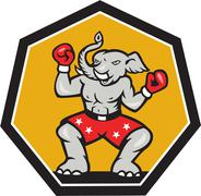 elephant mascot boxer cartoon - stock illustration