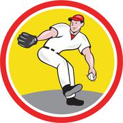 Baseball pitcher throw ball cartoon Stock Illustration
