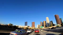 POV  Downtown city driving skyscrapers Financial district Los Angeles USA - stock footage
