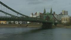 Hammersmith Bridge in London mid shot 4K Stock Footage