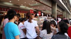 Shop entrance, Wangfujing business district,Beijing, china. Stock Footage