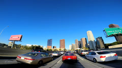 POV Time lapse Downtown city driving skyscrapers Los Angeles California USA - stock footage