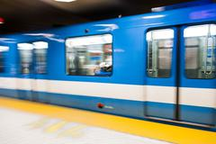 montreal metro train with motion blur - stock photo