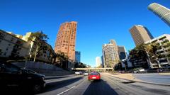 POV driving Highway road traffic city Los Angeles California USA - stock footage