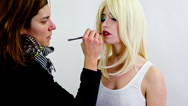 Model makeup before photo shoot Stock Footage