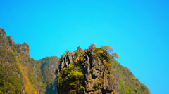 Panorama of cliff  james bond island-koh tapu, phuket thailand Stock Footage