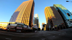 POV driving road traffic intersection sunset Los Angeles California USA - stock footage