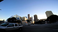 POV city driving built structure vehicle intersection traffic Los Angeles USA - stock footage