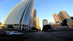 POV wide angle sunset city driving skyscrapers Los Angeles California USA - stock footage