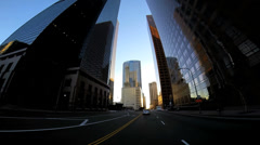 POV wide angle sunset city driving skyscrapers Los Angeles USA - stock footage