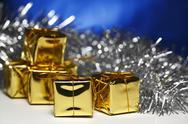 Stock Photo of cute golden gift box