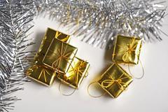 cute golden gift box - stock photo
