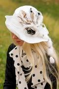 Stock Photo of young woman with a beautiful headdress