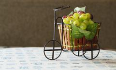 Violet and green grapes in cute small bicycle Stock Photos