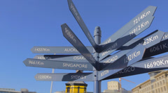 A 360 walkaround the world distances sign in the capetown harbour Stock Footage