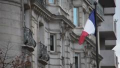French Flag in the Street. Stock Footage