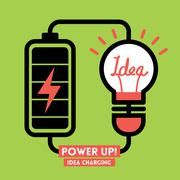 lightbulb idea charging battery power vector - stock illustration
