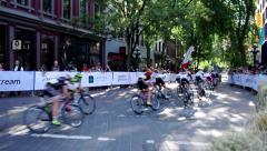 Gastown Grand Prix Bicycle Race in Vancouver Stock Footage