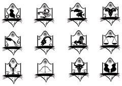Icon title zodiac. Stock Illustration
