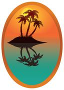 tropical island in a wooden frame. - stock illustration