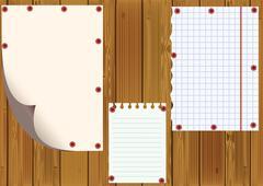 standard sheets against wooden boards. - stock illustration