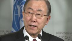 Ban Ki-moon  speaks to journalists. - stock footage