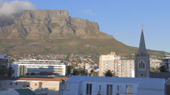 A morning medium prime time pan of table mountain Stock Footage