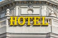 Stock Photo of Retro Hotel Sign Close Up