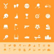Stock Illustration of sport game athletic color icons on orange background