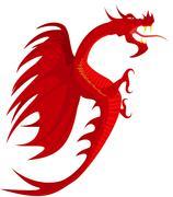 Heraldry, red dragon. Stock Illustration