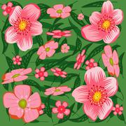 abstract pink flowers. - stock illustration