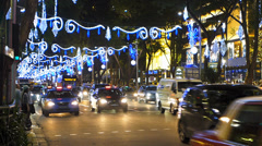 Time Lapse Asia Singapore Orchard Road Christmas light decoration Stock Footage