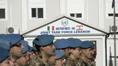 italian peacekeeper unifil battalion - stock footage