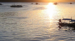 Philippine tourist boat on the sea Stock Footage