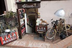 Flea market entrance Stock Photos