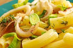seafood with rigatoni pasta - stock photo