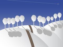 Winter land - stock illustration