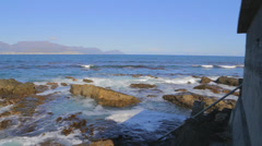 A pan from the ocean viewpoint at Robben Island Stock Footage
