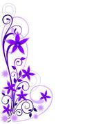 Violet flowers ornament - stock illustration