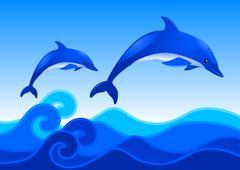 Dolphins - stock illustration