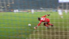 Shot wide after defenders lost the ball Stock Footage
