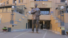 Statue right in front of Nelson Mandela Square Stock Footage