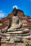 ruins the temple,ayutthaya historical park, thailand - stock photo