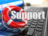Stock Illustration of support. laptop and lifebuoy on laptop's keyboard.