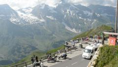 Stopping on Grossglockner road observation point Stock Footage