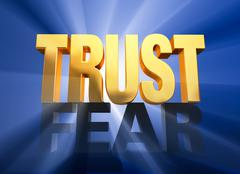 trust triumphs over fear - stock illustration