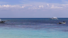 Philippine tourist boat sails on the sea Stock Footage