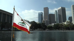 California Flag In Downtown LA - stock footage